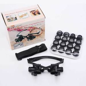 Image 5 - 2.5X 4X 6X 8X 10X 15X 20X 25X Multi Power Double LED Lights Magnifier Eye Glasses Watch Repair Loupe Jeweler Magnifying Glass