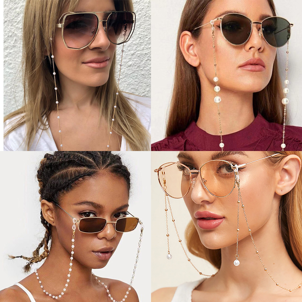 2020 New Latest Chic Fashion Pearl Beaded Glasses Chain Reading Glasses Sunglasses Thread Cords For Women