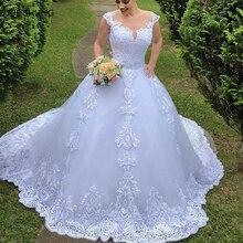 Fansmile Illusion Vestido De Noiva Backless Ball Gown Wedding Dress 2020 Train Cap Sleeve Wedding Gown Bride Dress FSM 031T