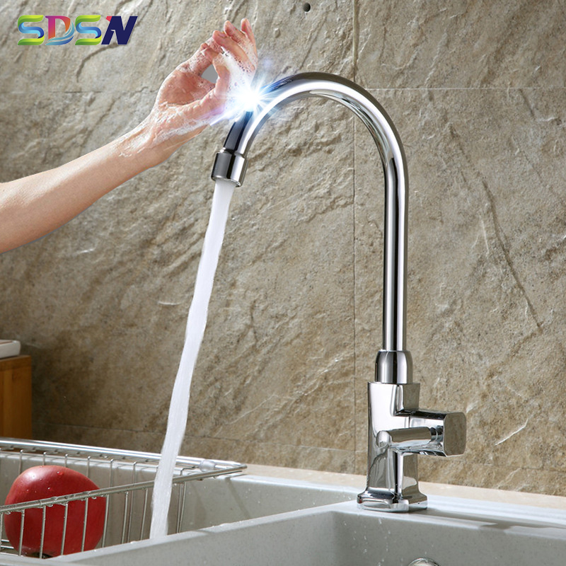 Chrome Touch Kitchen Faucet  SDSN Single Cold Sensor Kitchen Mixer Tap Zinc Alloy Touch Faucet Newly Frog Cold Kitchen Faucets