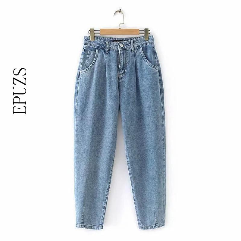 Vintage Blue Mom High Waist Jeans Women Boyfriend Jeans For Women Casual Pencil Trousers Korean Women Jeans Loose Denim Pants