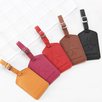 Fashion Airplan Luggage Tags Travel Accessories Suitcase Portable Holder ID Addres Label Business PU Leather Baggage Boarding