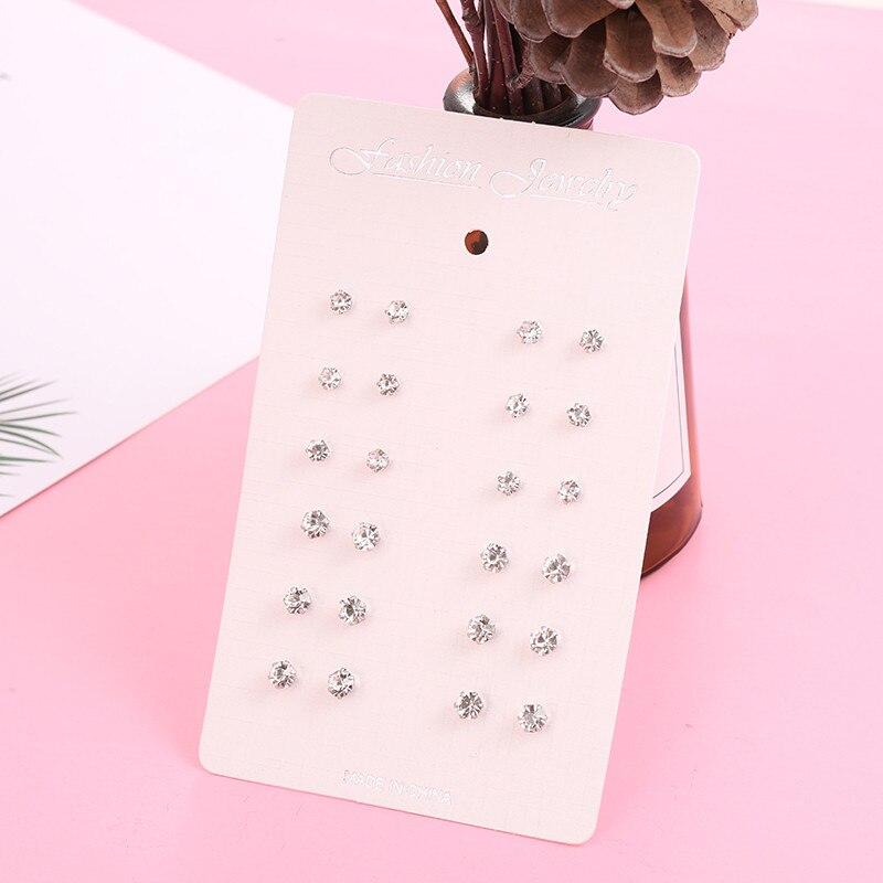 12 pares/set brincos de cristal para as mulheres 2019 nova moda bonito brinco 4mm pequeno simples brincos de cristal jóias presentes