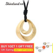 Shineland Gold Silver Color Pendant Long Necklaces For Women Fashion Jewelry 80cm PU Leather Chain Necklace collares mujer(China)