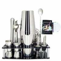 750/600/450ML Cocktail Shaker Mehrere Stücke Bartender Kit mit Stand Cocktail Rezept Edelstahl Bar Werkzeug set