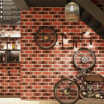 Chinese Style Vintage Brick Pattern Brick Wallpaper Barber Shop Clothing Store Hotpot Restaurant Decoration Antique Brick Wallpa