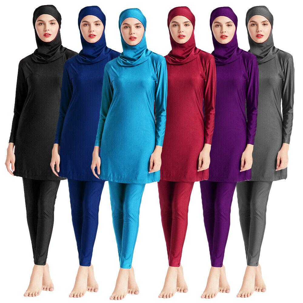 Muslim Women Swimwear Hijab Swimsuit Islamic Burkini Full Cover Beachwear Long Sleeve Top Pant Bathing Suit Costumes Modest Swim