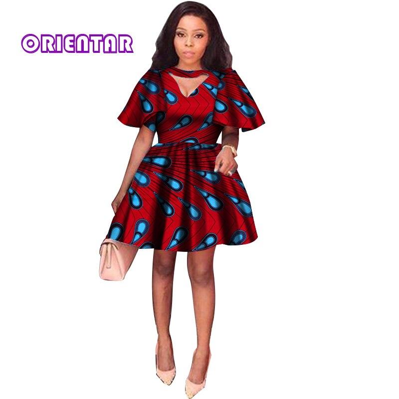 2018 D'été Robes Africaines pour Femmes Impression Tradition Dashiki Robe Manches Courtes décontracté Vêtements Indiens Dame Vêtements WY2869
