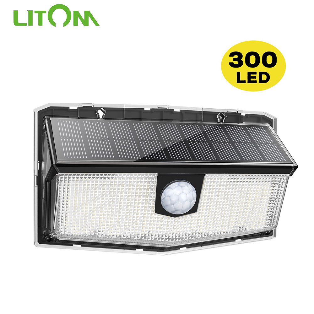 litom 300 leds luz solar ao ar livre lampada solar alimentado luz solar a prova dwaterproof