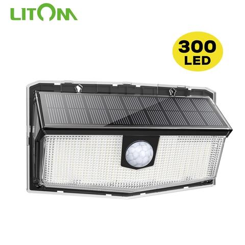 litom 300 leds luz solar ao ar livre lampada solar alimentado luz solar a prova
