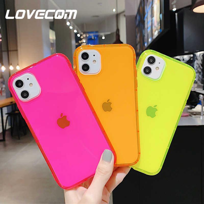 Lovecom capa protetora de cor fluorescente, case protetor, a prova de choque, para iphone 11, pro, max, xr, x, xs, max, 7, 8, plus, neon capa tpu transparente macia para celular