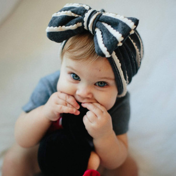 New Children's Newborn Children's Hat Cotton Baby Bow Knot Indian Hat Striped Autumn And Winter Warm Cap Baby Accessories knot front striped dress