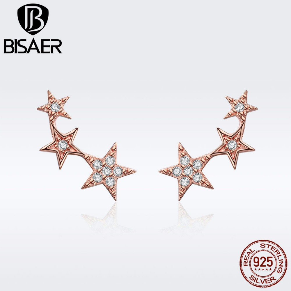 BISAER 100% 925 Sterling Silver Stackable Star Exquisite Small Stud Earrings For Women Bijoux Silver Earrings Jewelry GXE291
