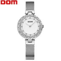 Zegarek damski DOM Top marka luksusowy zegarek kwarcowy codzienne zegarki ze stali pasek z siatki Ultra cienki kobiety wodoodporny zegarek zegar w Zegarki damskie od Zegarki na