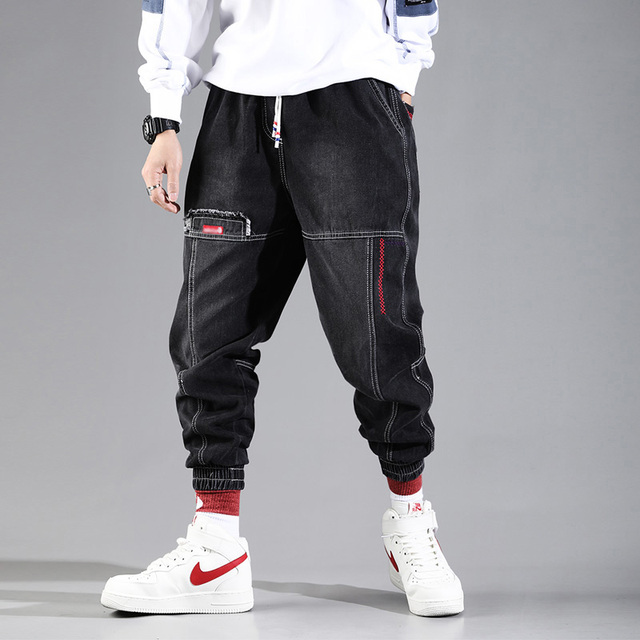 Hip Hop Streetwear Harem Jeans Pants Men Loose Joggers Denim Casual Sweatpants Korea Ankle length Trousers 2