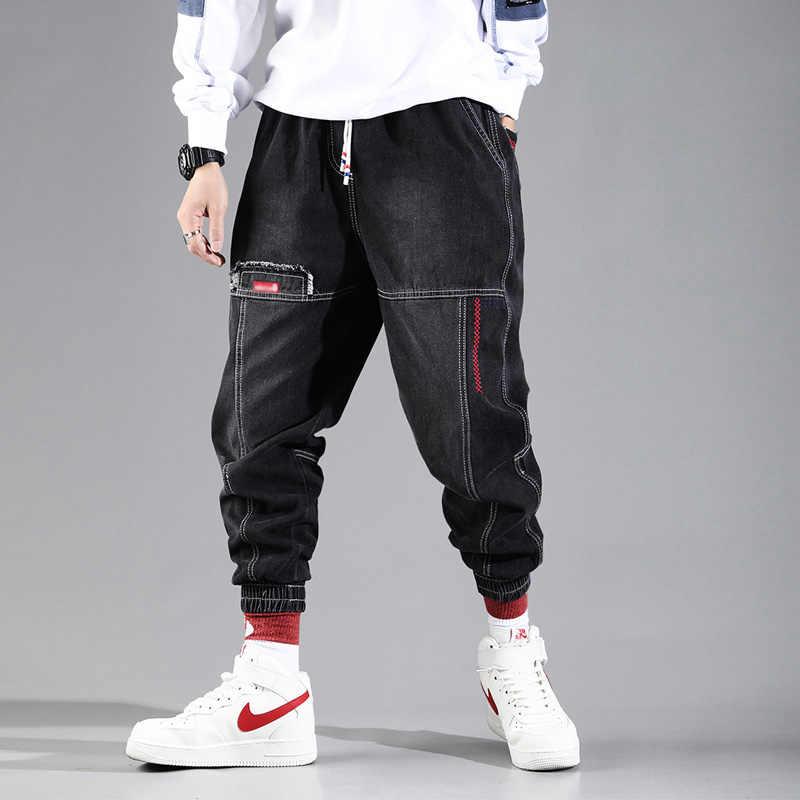 Hip Hop Streetwear Harem kot pantolon erkekler gevşek Joggers kot rahat Sweatpants kore ayak bileği uzunluğu pantolon
