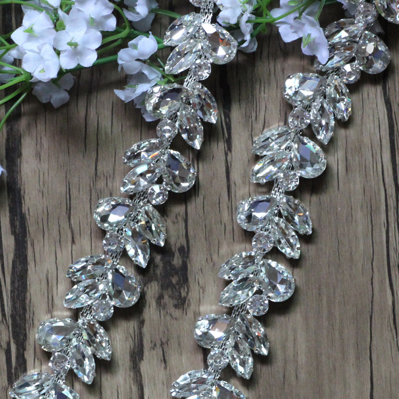 Free Shipping 1yard Crystal Rhinestone Chain Bridal Sash Rhinestone Trim Applique,Rhinestone Trimming DIY Accessories LSRT096
