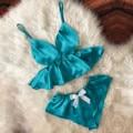 SAGACE Для женщин кружевное белье сексуальное эротическое v-образный вырез для ресниц пятно камзол пижамы женские шорты с бантиком, комплект с ...