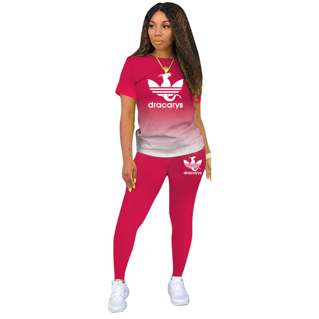 Tracksuits Women 2 Pieces Sets short Sleeve O-Neck Pullover Top Trousers Sportswear Sports Suit Female Clothes Spring 2021 New 3