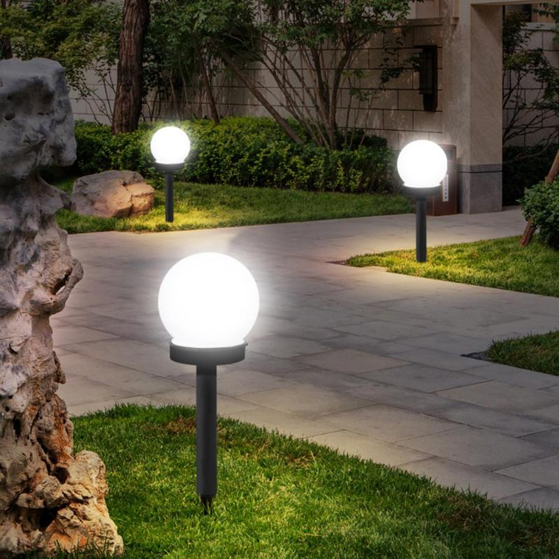3pcs Waterproof LED Solar Round Bulb Lawn Lamps Spike Garden Path Outdoor Lights Design Automatic Opening And Closing