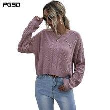 Женская осенне зимняя одежда pgsd Пуловеры свитеры розовый короткий