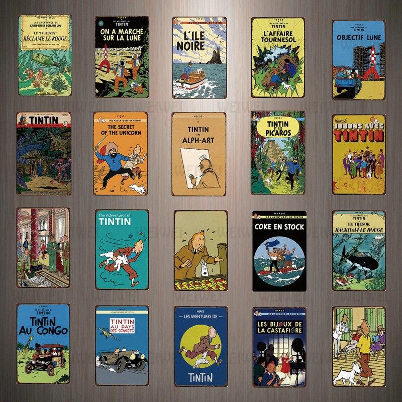 Жестяной ВИНТАЖНЫЙ ПЛАКАТ с изображением кинофильма Tintin Catoon, металлическая пластина, настенный плакат, железная живопись, бар, кофе, детска...
