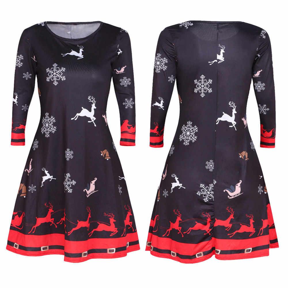 40 * ฤดูหนาวคริสต์มาส Santa SKATER สุภาพสตรี Snowman Swing PLUS ขนาด 3XL vestidos Verano ฤดูใบไม้ร่วงชุดสำหรับสตรี