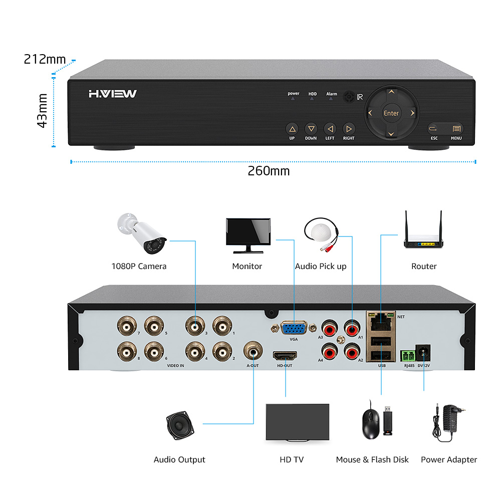 H.VIEW 8CH 1080P Video Surveillance Kit Camera Video Surveillance Outdoor CCTV Camera Security System Kit CCTV System for Home