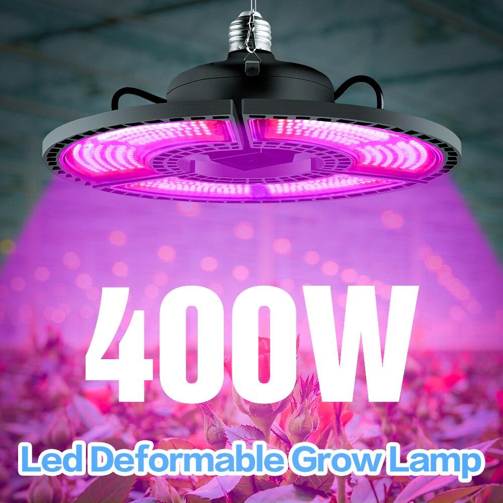 ในร่มE27 LED 400W Growแผงไฟเต็มสเปกตรัมPhytoดอกไม้สำหรับE26 สำหรับพืชWARM White LEDs Fitolamp Growเต็นท์