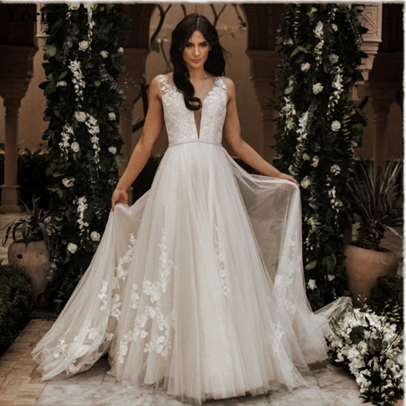 Lorie Princess Wedding Dress A-Line Wedding Gown Puff Tulle Custom Made Boho Lace Appliques V-Neck Bridal Dresses