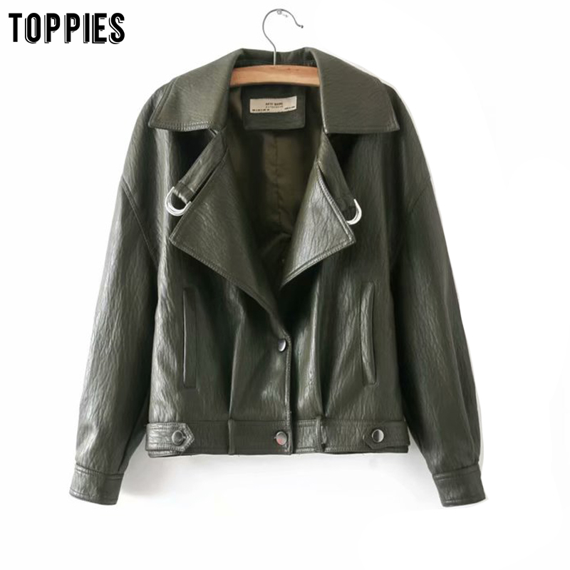 Toppies White Faux Leather Jackets Short Bomber Jacket Back Button Coat 2020 Spring Ladies Outwear