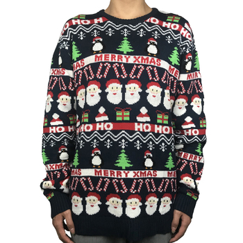 Funny Knitted Santa Ugly Christmas Sweater for Men Cute Knit Xmas Holiday Men's Christmas Pullover Jumper Plus Size