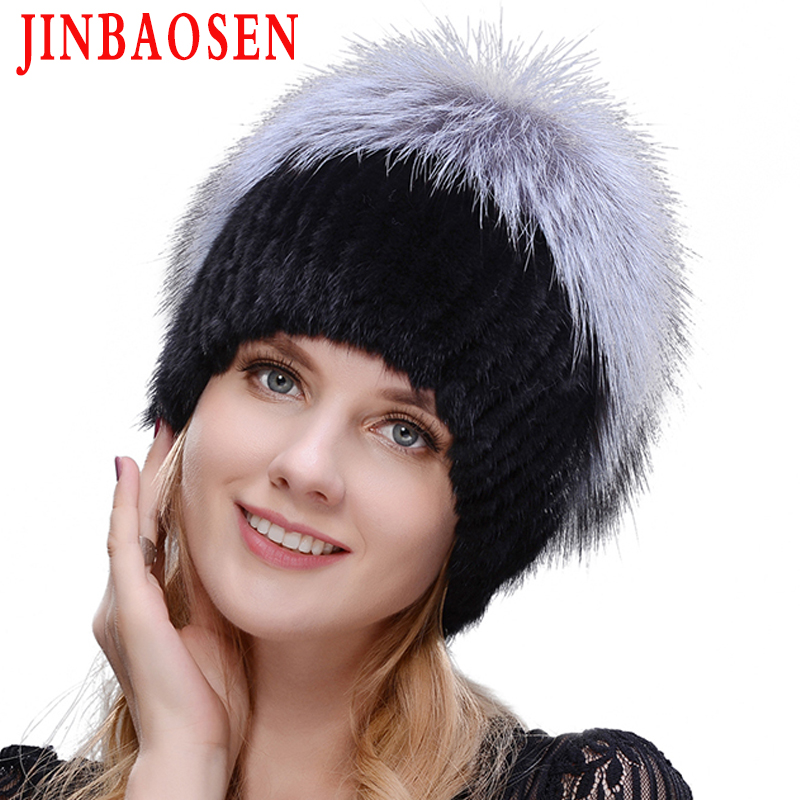 JINBAOSEN 2019 Women's Winter Mink Fur Hat Real Silver Fox Fur Warm Ski Cap Natural Fur Knit Fur Cap Brand Fashion Russian Style