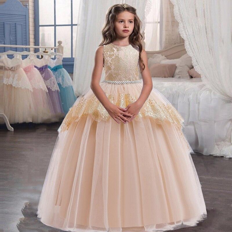 2020 Summer Evening Party Dresses Bridesmaid Dress Kids Dresses For Girls Mesh Princess Dress Girl Wedding Dress 9 10 12 Years