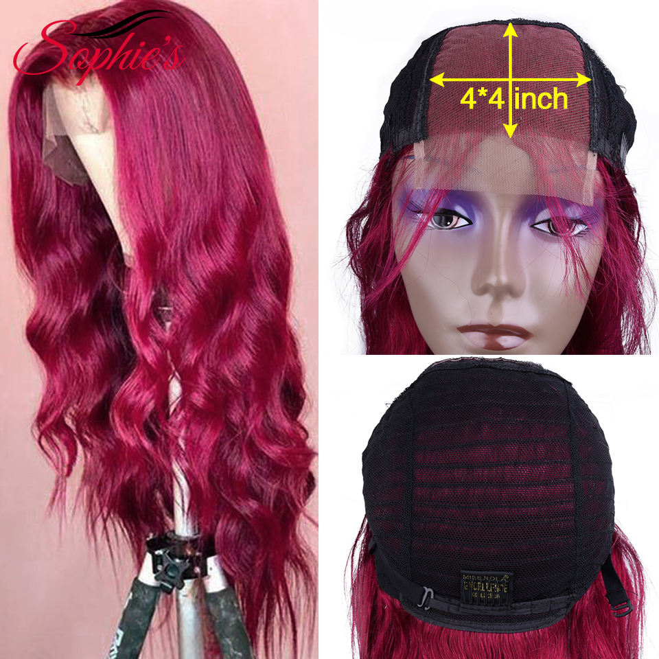 Sophie's 4*4 Lace Closure Human Hair Wigs Body Wave Human Hair Wigs For Women Lace Closure Human Hair Burgundy Color Remy