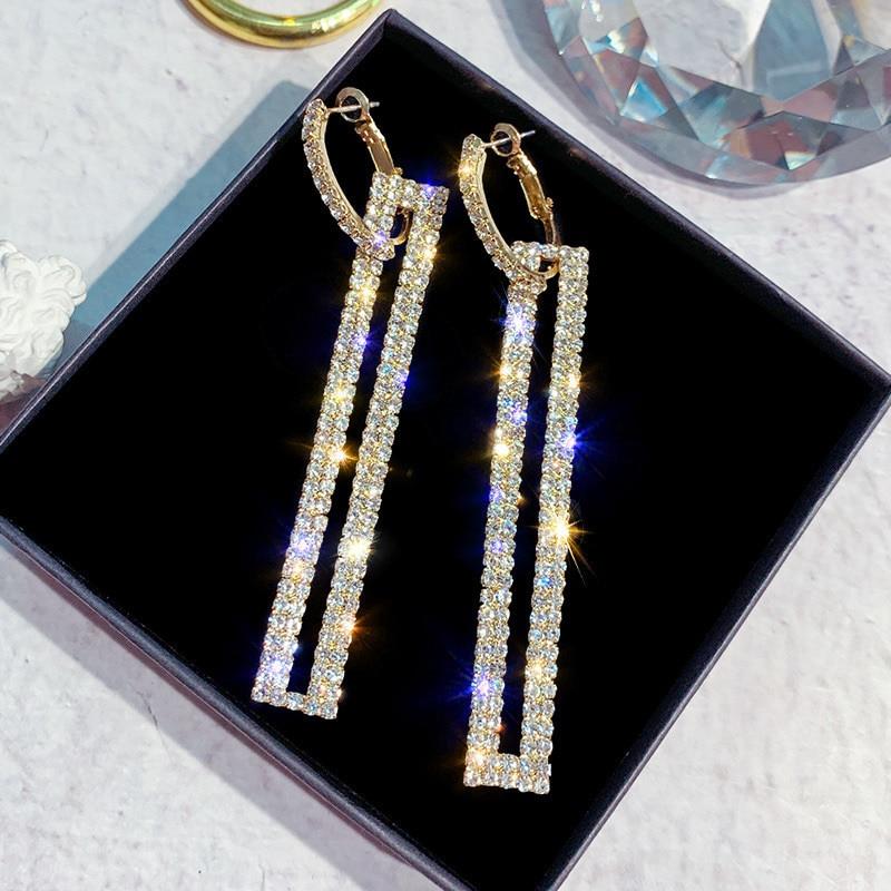 Fashion Tassel Long Geometric Drop Earrings Luxury Gold Silver Color Rectangle Rhinestone Earring for Women Party Jewelry Gift