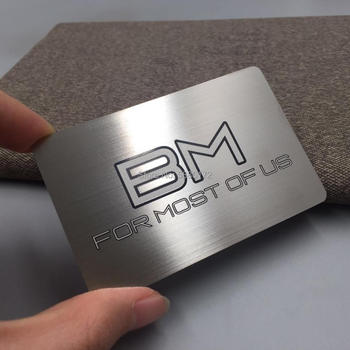 Stainless steel metal material novel brushed metal cards printing bruched finished effect metal business card new arrival etching and cutting through stainless steel metal material metal etched business cards