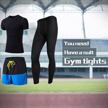 Mens 3 Pcs Quick Dry Gym Sport Suit Compression Tracksuit Fitness Tight T-Shirt Running Leggings Demix Mans Sportswear