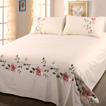 Cotton twill Embroidered Bed Sheets Set LUXURY Bedding Set Wrinkle & Fade Resistant Hypoallergenic Sheet & Pillow Case Set Queen