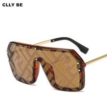 Fashion Letter Sunglasses Women Vintage Metal Frame Oversized Square Sun Glasses