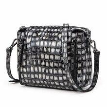 цена на Contact's 2020 Women Genuine Leather Tote Bag Crocodile Messenger Crossbody Bag Female Simple Shoulder Bag Square Lady Handbag