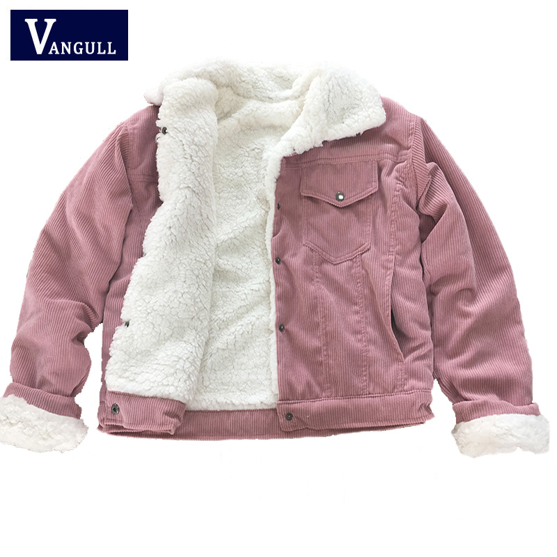 Vangull Corduroy Women Padded Jacket Thick Velvet Jacket 2020 Winter Warm Solid Outerwear Long Sleeve Vintage Short Women Coat 1