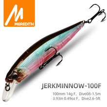 MRERDITH JERK MINNOW 100F 14g Hot Model Fishing Lure Hard Bait 24Color wobbler Minnow Quality Professional Depth0.8-1.5m