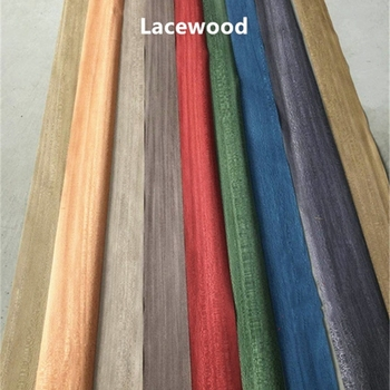 Custom Natural Genuine Dyed Platano Lacewood Wood Veneer for Furniture DIY about 0.3mm Green Red Blue Coffee Orange