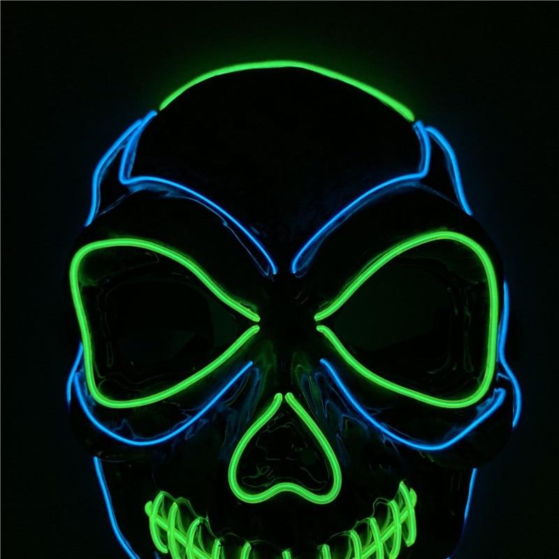 Halloween Mask Night Atmosphere Decorative Face Masks Men Women Wear LED Light Emitting Mask