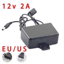 AC/DC 12V 2A 2000ma güvenlik kamerası güç kaynağı adaptörü açık su geçirmez ab abd tak adaptörü şarj için CCTV video kamera