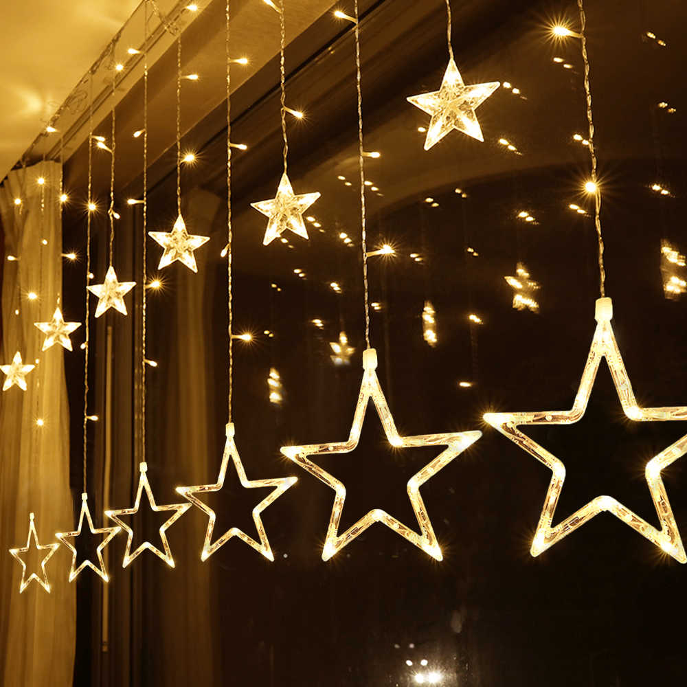 Curtain Led String Garland On The Window Christmas Lights Outdoor Indoor Twinkly Fairy Wedding Party New Year Decoration Eu 220v Aliexpress
