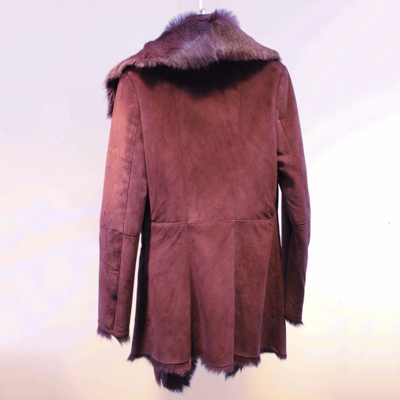 Women Genuine Goatskin Leather Real Fur Coats Luxury Brand Double-Faced Fur Thick Warm Ladies Trench High Quality Slim Overcoats
