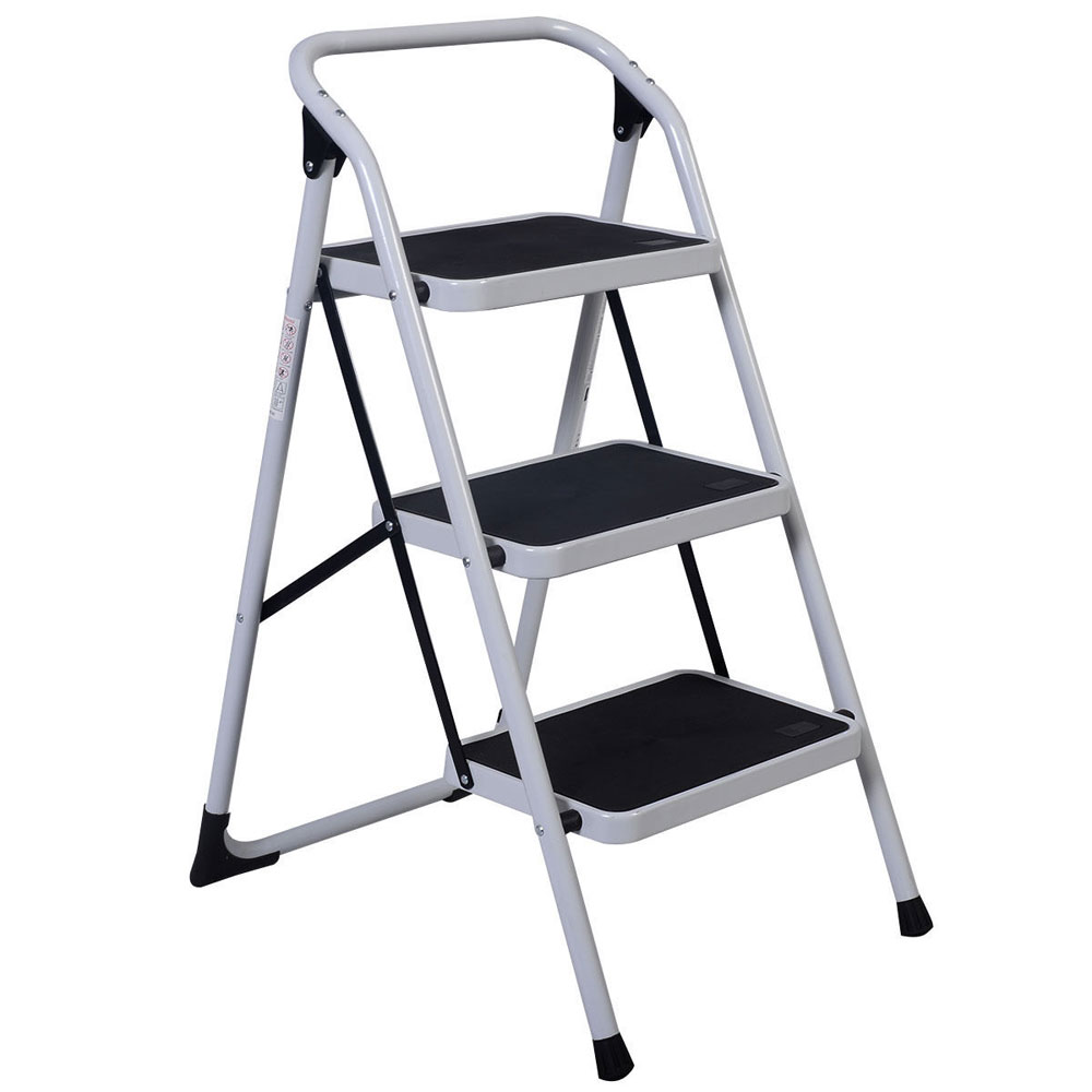 Home Use 3 Step Short Handrail Iron Ladder Black White Portable | Portable Stairs With Handrail | Chair | Plastic Portable | Camper | Wall Mounted | Ladder