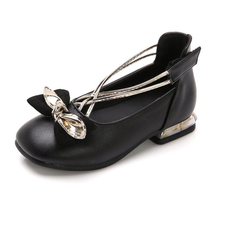 2020 Spring And Autumn New Girls Leather Shoes Single Shoe Girl Thick Heel Little Girl High Heel Dance Shoes 6-12 Years